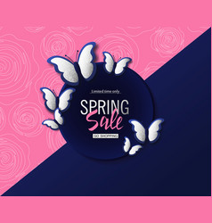 Spring sale banner background template with vector