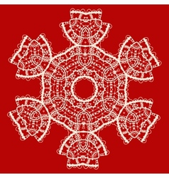 Stylized indian mandala over red Vintage tribal vector image vector image