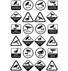 Video surveillance signs - Big yellow and black vector image