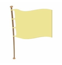White flag on wooden flagpole vector
