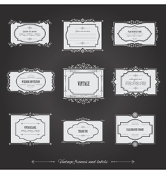 Vintage filigree frames set on chalkboard vector image