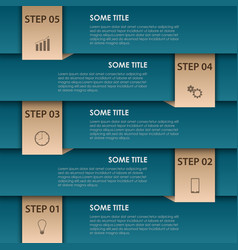 Info graphic with blue stripes and bookmarks vector
