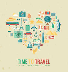 Heart silhouette with travel flat icons travel vector