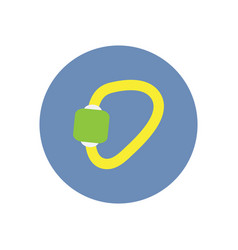 Stylish icon in circle mountaineering carabiner vector