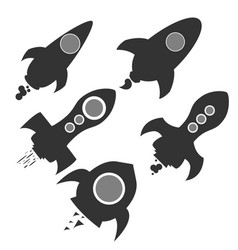 Rocket and the space collection of rocket launch vector
