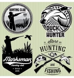 set of patterns with duck dip gun hunter for vector image