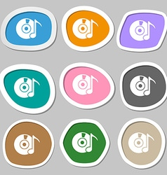 Cd or dvd icon sign multicolored paper stickers vector