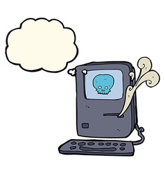 Computer virus cartoon with thought bubble vector