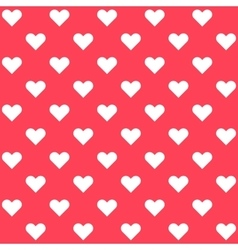 White polka dots hearts on red background vector