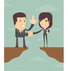 Business woman and man in front of a gap vector