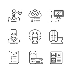 Set line icons of magnetic resonance imaging vector