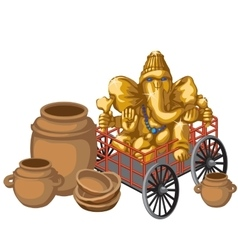 Golden statue of ganesha on a cart and clay pots vector