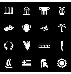 White greece icon set vector