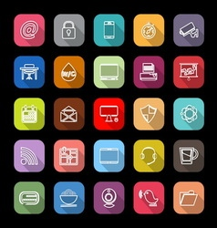 Internet cafe line icons with long shadow vector