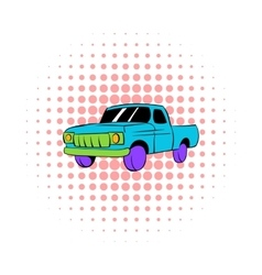 Blue pickup icon comics style vector image