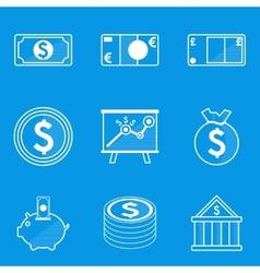 Blueprint icon set money vector