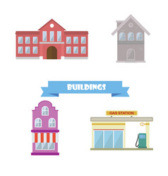 buildings collection flat design school house vector image vector image