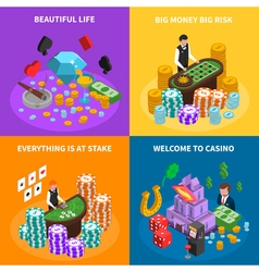 Casino 2x2 Isometric Design Concept vector image vector image