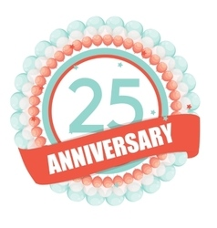 Cute Template 25 Years Anniversary with Balloons vector image vector image