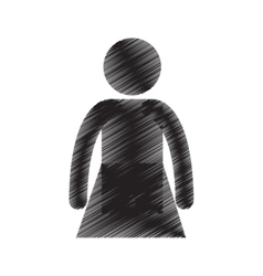 Female standing person adult pictogram draw vector