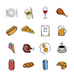 Food icons set cartoon vector