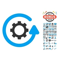 Gearwheel rotation direction icon with 2017 year vector