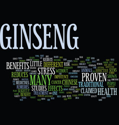 Ginseng a herb to reduce stress text background vector