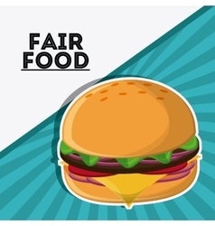 Hamburger fair food snack carnival icon vector