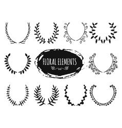 Hand drawn floral doodle design elements vector