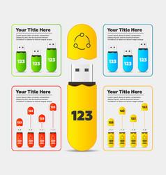 infographics usb flash card bar chart vector image vector image