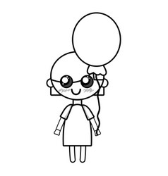 Line beauty girl with balloon and hairstyle design vector