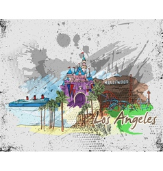 los angeles doodles vector image