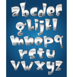 Lower case silver alphabet vector
