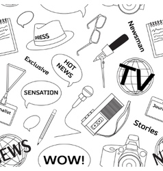 Pattern with journalism icons vector image