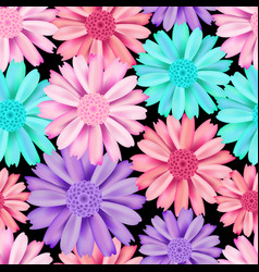 pink and blue flower seamless pattern vector image vector image