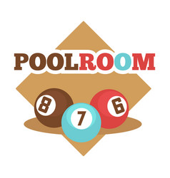 pool room isolated promotional emblem with vector image vector image