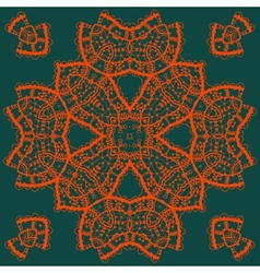 Red outlined mandala medallion on green Vintage vector image vector image