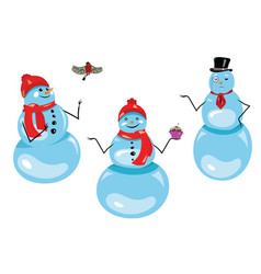 set of christmas snowmen collection of funny vector image