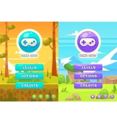 set of main menu with buttons for the vector image