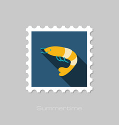 Shrimp stamp prawn summer vacation vector