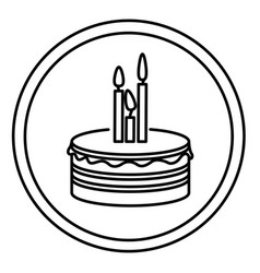 Silhouette round emblem with party cake icon vector