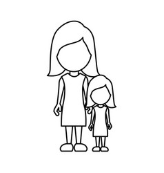 silhouette woman with her daughter icon vector image vector image