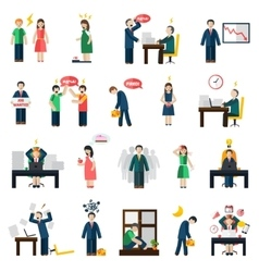 Stress depression mental health icons set vector image vector image