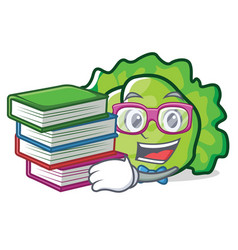 Student with book lettuce character mascot style vector