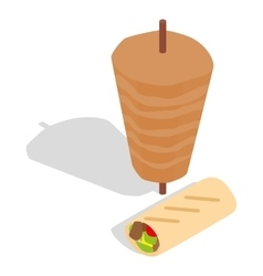 Traditional doner kebab icon isometric 3d style vector