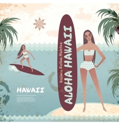 Vintage banner of hawaiian island with a surf girl vector