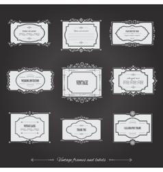 Vintage filigree frames set on chalkboard vector image