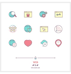 WEB Line Icons Set vector image vector image