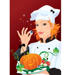 Witch - chef cooking for Halloween party vector image