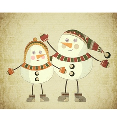Two snowmen vector image